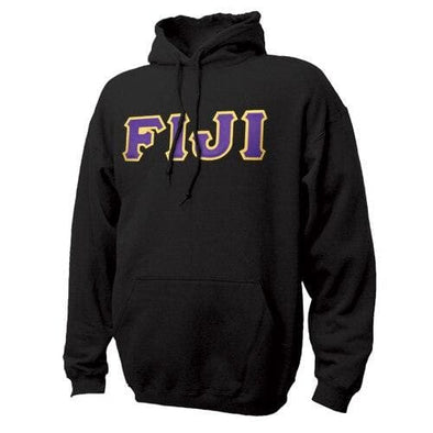 FIJI Black Hoodie with Sewn On Letters