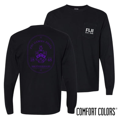 FIJI Comfort Colors Black Badge Long Sleeve Pocket Tee