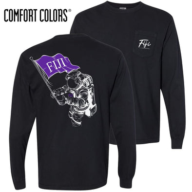 New! FIJI Comfort Colors Black Astronaut Long Sleeve Pocket Tee