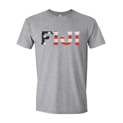 FIJI Stars & Stripes Sewn On Letter Tee