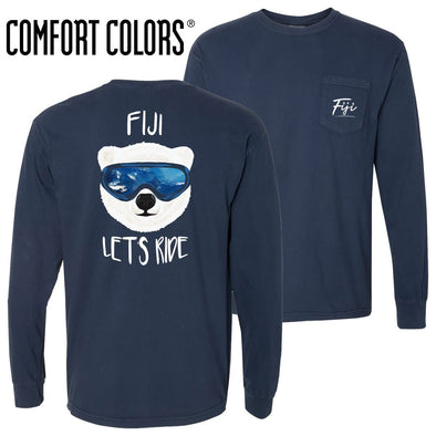New! FIJI Comfort Colors Navy Let's Ride Long Sleeve Pocket Tee