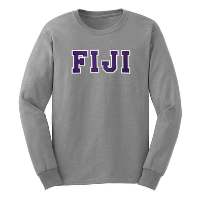 FIJI Gray Sim Stitch Letter Long Sleeve Tee