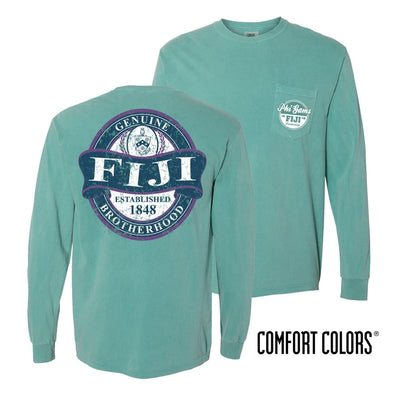 FIJI Faded Green Comfort Colors Long Sleeve Pocket Tee