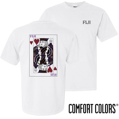 New! FIJI Comfort Colors White King of Hearts Short Sleeve Tee