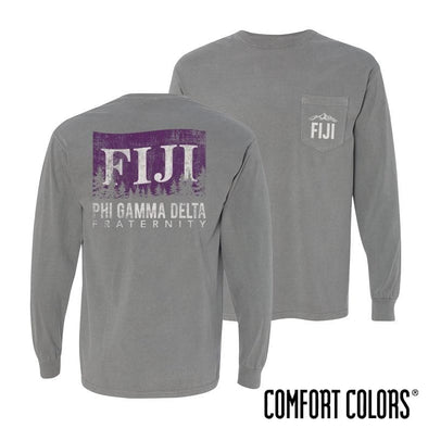 FIJI Gray Comfort Colors Flag Long Sleeve Pocket Tee