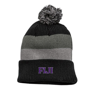 FIJI Black & Gray Striped Knit Beanie with Removable Pom