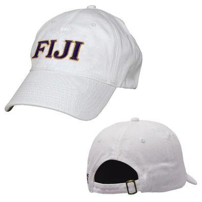 FIJI White Greek Letter Adjustable Hat