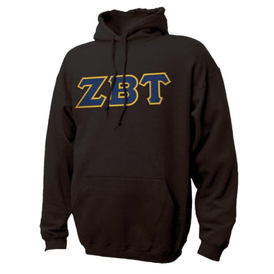 ZBT Black Hoodie with Sewn On Greek Letters
