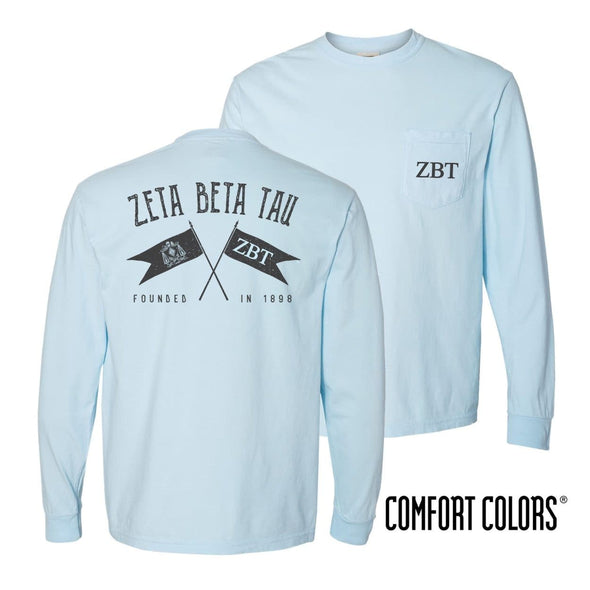 ZBT Light Blue Comfort Colors Long Sleeve Pocket Tee