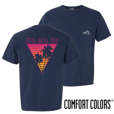 ZBT Comfort Colors Navy Short Sleeve Miami Pocket Tee