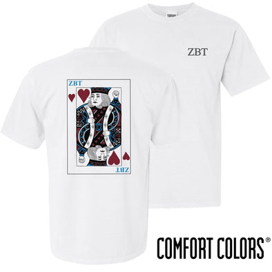 ZBT Comfort Colors White King of Hearts Short Sleeve Tee