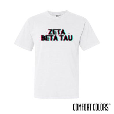 New! ZBT Comfort Colors White Glitch Short Sleeve Tee