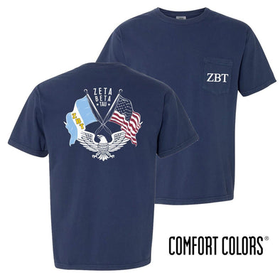 New! ZBT Comfort Colors Short Sleeve Navy Patriot tee