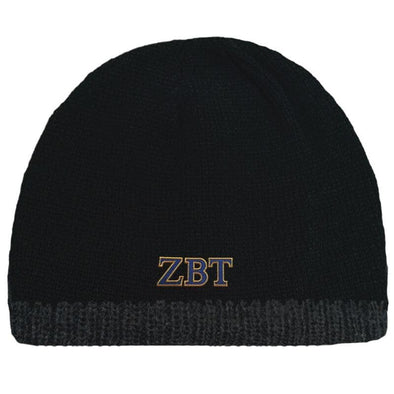 Sale! Zeta Beta Tau Black Knit Beanie with Fleece Lining