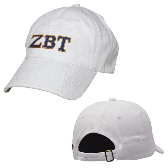 Zeta Beta Tau White Greek Letter Adjustable Hat