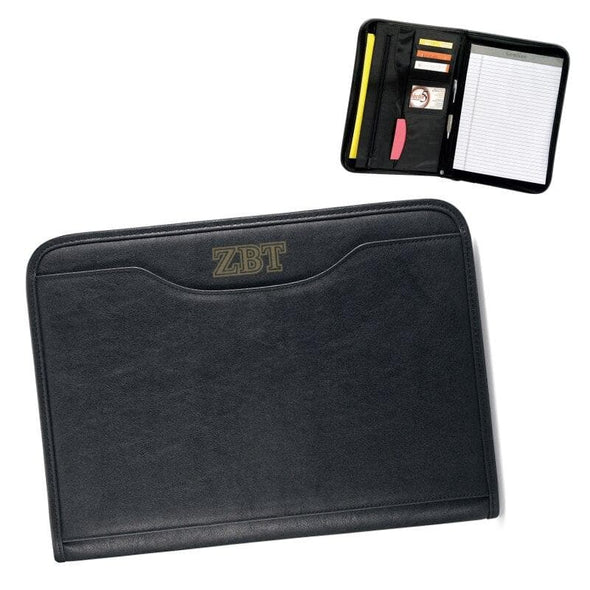 Zeta Beta Tau Zippered Padfolio