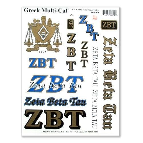 Zeta Beta Tau Sticker Sheet