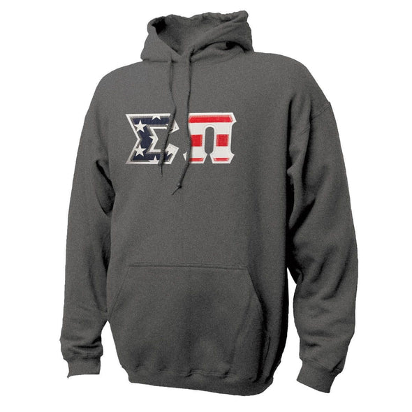 Sigma Pi Stars & Stripes Sewn On Letter Hoodie