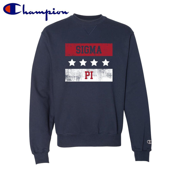 Sigma Pi Red White and Navy Champion Crewneck