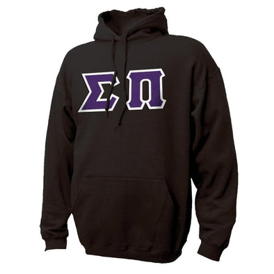 Sigma Pi Black Hoodie with Sewn On Greek Letters