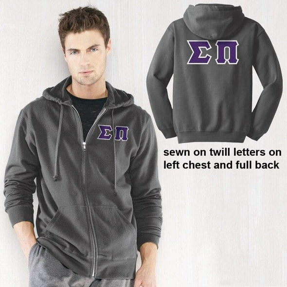 Clearance! Sigma Pi Charcoal Full-Zip Hoodie with Sewn On Letters