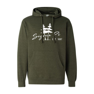 New! Sigma Pi Army Green Wilderness Hoodie