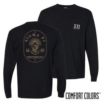 Sigma Pi Comfort Colors Black Badge Long Sleeve Pocket Tee