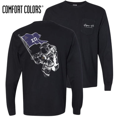 New! Sigma Pi Comfort Colors Black Astronaut Long Sleeve Pocket Tee