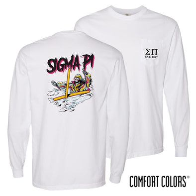 New! Sigma Pi Comfort Colors White Long Sleeve Ski-leton Tee