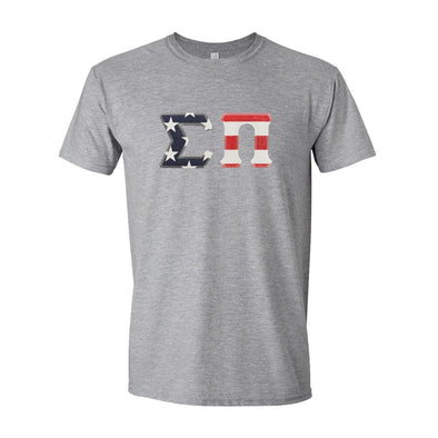 Sigma Pi Stars & Stripes Sewn On Letter Tee