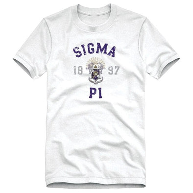 Sigma Pi White Distressed Crest Tee