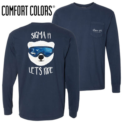 New! Sigma Pi Comfort Colors Navy Let's Ride Long Sleeve Pocket Tee