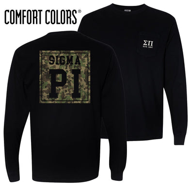 New! Sigma Pi Comfort Colors Black Camo Long Sleeve Pocket Tee