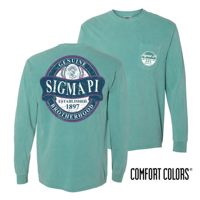 Sigma Pi Faded Green Comfort Colors Long Sleeve Pocket Tee
