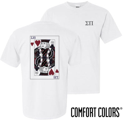 New! Sigma Pi Comfort Colors White King of Hearts Short Sleeve Tee