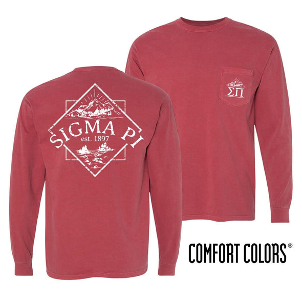 Sale! Sigma Pi Crimson Comfort Colors Long Sleeve Pocket Tee