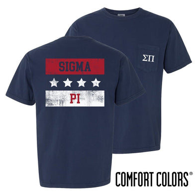 New! Sigma Pi Comfort Colors Red White and Navy Short Sleeve Tee