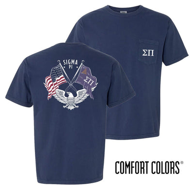 New! Sigma Pi Comfort Colors Short Sleeve Navy Patriot tee
