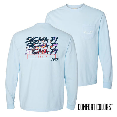Sigma Pi Comfort Colors Chambray Long Sleeve Urban Tee