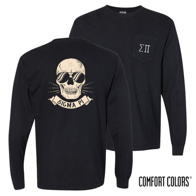 New! Sigma Pi Comfort Colors Black Skull Long Sleeve Pocket Tee