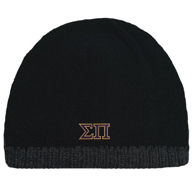 Sale! Sigma Pi Black Knit Beanie with Fleece Lining