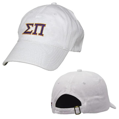 Sigma Pi White Greek Letter Adjustable Hat