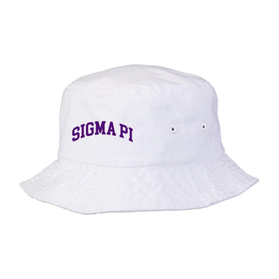 New! Sigma Pi Title White Bucket Hat