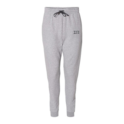 New! Sigma Pi Heather Grey Contrast Joggers