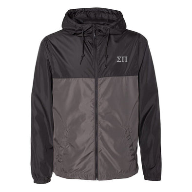 New! Sigma Pi Color-Block Letter Windbreaker