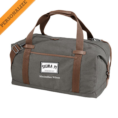 New! Sigma Pi Personalized Gray Canvas Duffel