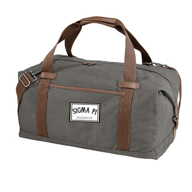 New! Sigma Pi Gray Canvas Duffel