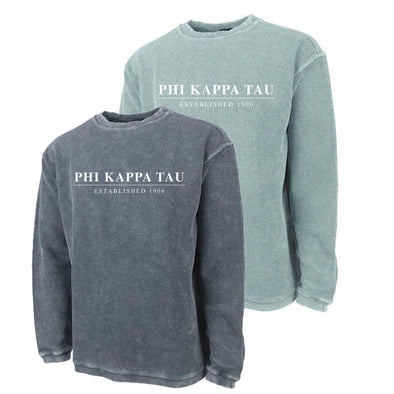 New! Phi Tau Charles River Corded Crew Sweatshirt