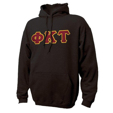 Phi Tau Black Hoodie with Sewn On Greek Letters