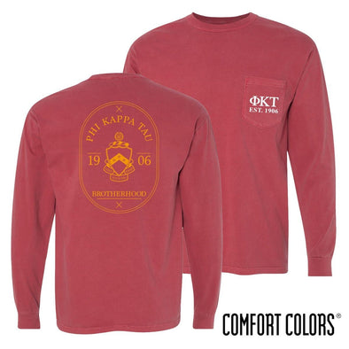 Phi Tau Comfort Colors Crimson Badge Long Sleeve Pocket Tee